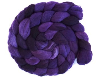 Blurple, Rambouillet Wool Roving - Hand Painted Spinning or Felting Fiber