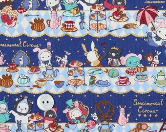 Super Special half price-Half yard (1/2yd) San-X  Kawaii Sentimental Circus  Fabric (deep blue)-Cotton Fabric