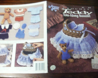 Doll Crocheting Patterns Teddy Tote Along Annie's Attic 301T Crochet Pattern Leaflet