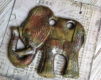 266. Wondrousstrange Raku Elephants Memory Stoneware  Mustard Gold Silver Rust Pendant