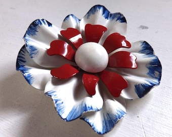 Vintage 1960s patriotic enamel flower pin or brooch red white and blue dimensional layered tricolor daisy