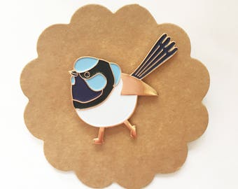 Superb Blue Fairy Wren Enamel Pin - designed by Jess Racklyeft