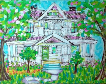 Your House Custom Painting From Your Photo Made to Order YelliKelli