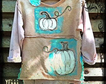 SALE Rustic Pumpkin Hand Painted Tunic Girls 6-8 Funkywear Ready to Ship YelliKelli