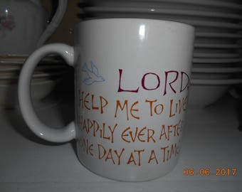 Vintage Hallmark Stoneware Mug Lord Help Me to Live Happily Ever After One Day At A Time