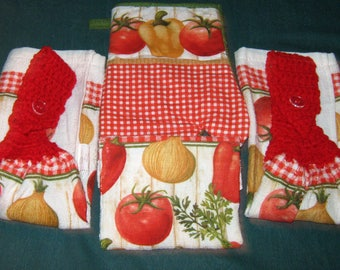 2 Crochet Hanging Towel dish cloth, oven mitt white peppers veggies, red top