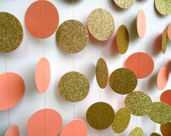 Peach and Gold Glitter Circle Garland, Paper Dot Garland, Wedding Reception Decor, Bridal Shower Decoration