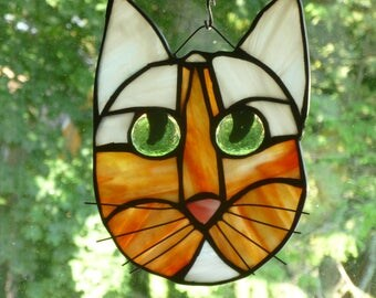 Cat Face Stained Glass  in Beautiful Orange and white green eyes