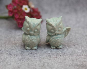 Owl Wedding Cake Topper - Two Little Owls in Stoneware with Aqua Glaze
