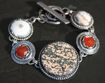 starry night obsidian, carnelian, ocean jasper, and sterling silver metalwork link bracelet