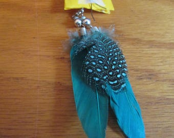 Teal feather dangles