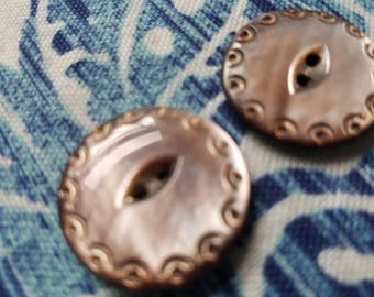 Vintage Buttons - Amazing mother of pearl, 2 large matching carved lacy edge design, (July 383 17)
