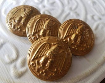 Vintage  Buttons , military.  eagle crested gold metal, 4 large ( July 585 17)