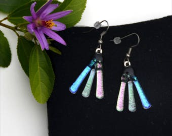 168 Dichroic fused glass earrings, three colors, pink, silver, blue