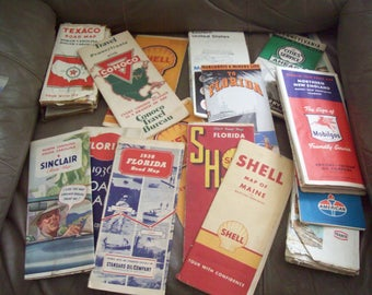 Collection of 16 old road maps from 1936-'60's