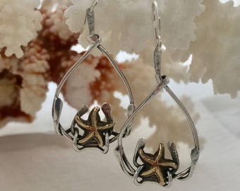 brass starfish and silver kelp mixed metal hand made dangle earrings made to order