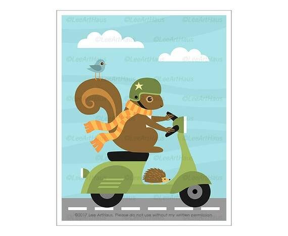 136A Squirrel Wall Art - Squirrel on Vespa Wall Art - Squirrel Wall Art - Vespa Print - Vespa Decor - Woodland Nursery Decor - Squirrel Art