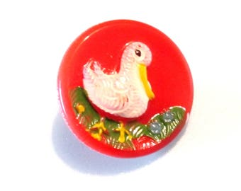 Red Glass Sewing Button - Vintage Buttons - Duck