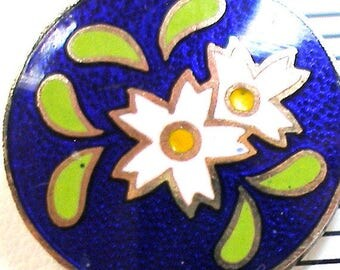 """50s Japanese Button, Cloisonne flowers in white and yellow, 5/8"""". Four colors. Made in Japan."""