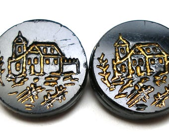2 Antique GLASS buttons, Victorian buildings with gold. Set of 2.