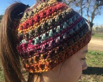 Crocheted Messy Bun Ponytail Hat Toddler to Adult sizes