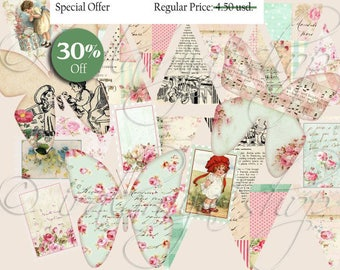 PRETTY FINDS Collage Digital Images -printable download file-