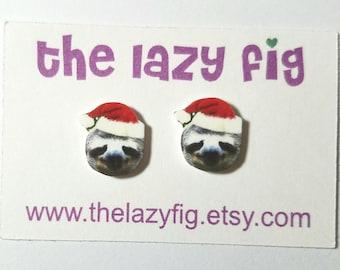 Sloth Santa - Christmas - stud earrings