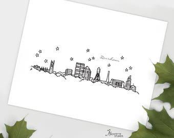 Durham, North Carolina - United States - Instant Download Printable Art - City Skyline Series