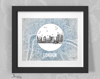 London, England United Kingdom - Europe - Instant Download Printable Art - Vintage City Skyline Map Series