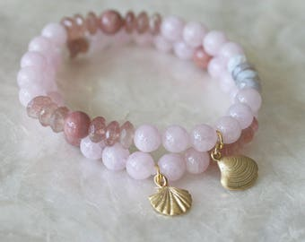 Pink Bracelet Set, Ocean Charms, Pave Jewelry, Morganite Bracelet, Pink Bracelets, Star Fish Charm, Shell Charm, Stack Bracelets, 8 Inch