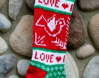 Hand Knit Christmas Stocking Dove Love is Love  Ready to ship!