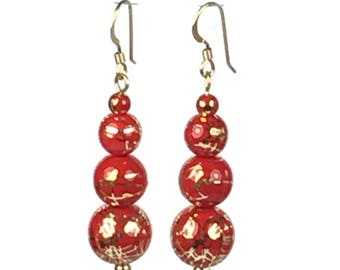 Red and Gold Party Earrings