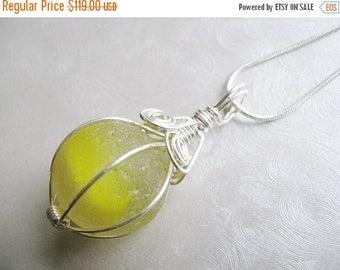 SEA GLASS SALE Rare Large Yellow Sea Glass Shooter Marble Pendant - Sea Glass Pendant - Beach Glass Jewelry - Ocean Jewelry - Large and Rare