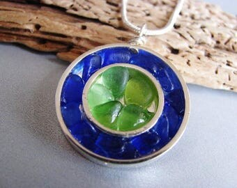 Beach Glass Necklace - Sea Glass Jewelry - Cobalt Blue and Kelly Green - Silver Circles - Mosaic Necklace - Ocean Jewelry Gifts of the Sea