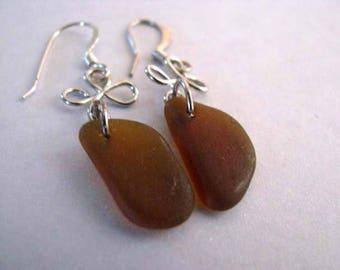 Sea Glass - Beach Glass Earrings - Amber Brown - Dangle Earrings -Ocean Jewelry Gifts of the Sea- Authentic Genuine Pure Sea Glass Earrings