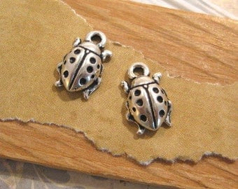 Ladybug Charms in Antique Silver - 2 Count