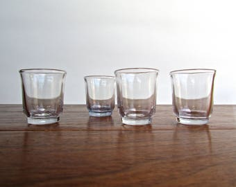 Vintage French Medicine or Shot Glasses in Ice Blue, Set of 4, MCM Barware, Cool French Blue Glass