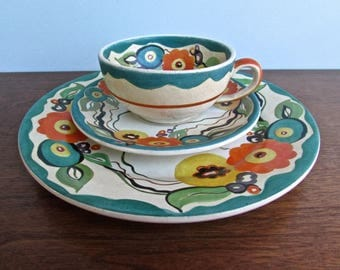 Joy Nash Ford Hand Painted Art Nouveau 1930s Revival Low Fired Luncheon Set, Curvy Floral Design, Signed and Dated 1937