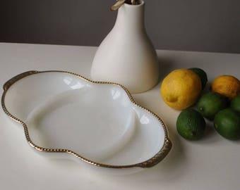 ANNIVERSARY SALE 1950s Fire-King Milk Glass Dish~Gold Bubble Trim