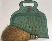 SALE Dust Pan Metal Dust Pan Sweeper Rustic Decor Fixer Upper Decor teal Dust Pan
