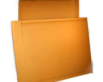 Bubble Mailer 50 pack - gold, size 4 or approx 9.5x14.5 - large, padded envelopes, shipping, mailing, shop supplies, self sealing, kraft