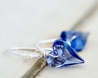 Crystal Earrings, Heart Crystal, Dangle Earrings, Heart Earrings, Purple Crystal, Wire Wrapped, Swarovski Crystal, Swarovski Earrings,