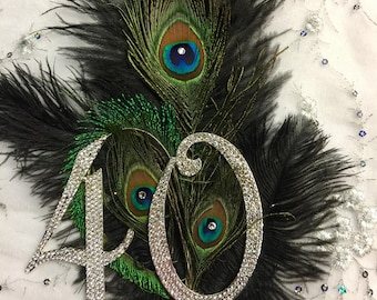 Peacock and Ostrich Feather Birthday or Anniversary cake topper - Custom Made