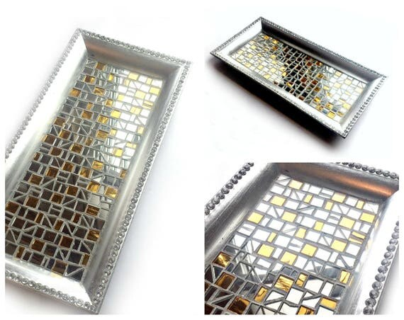 GLAM Mosaic Tray, Silver Gold and Mirror Glass Vanity Tray, Sparkly Mosaic Candle Tray, Silver Candle Stand, Dresser Caddy, Perfume Caddy