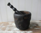 Vintage antique wooden mortar and pestle  old dark finish witch wizard Primitive Gothic apothecary pharmacy decor