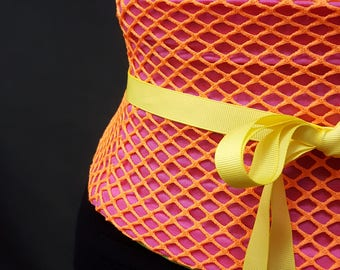 Neon Orange Netting and Hot Pink Cotton Corset Boned Waist Cincher Belt Lace Up Any Size Any Colors