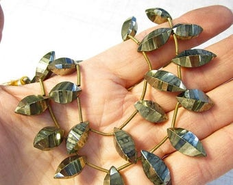 SALE 20% Off Natural Pyrite Marquise Briolette Beads, Natural Gold Gemstone,
