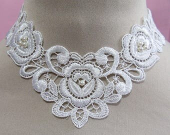 White applique necklace -  white pearl beads in each flower - Trach stoma covers