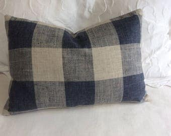 Very French Lakeland blue Buffalo Check pillow cover 16x24