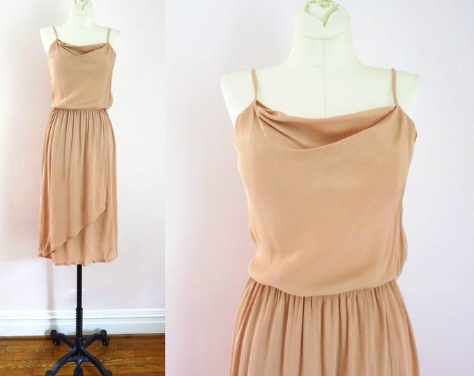 Vintage Tan Dress | 1980s Tan Crepe Faux Wrap Skirt Dress XS